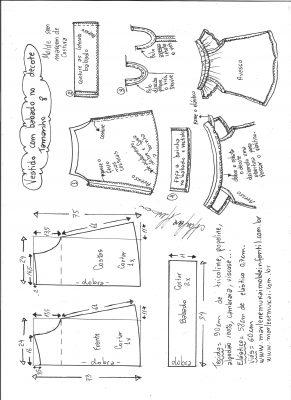 Esquema de modelagem de vestido evasê com babado no decote tamanho 8.