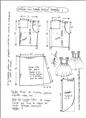 Esquema de modelagem de vestido com babado vertical tamanho 1.