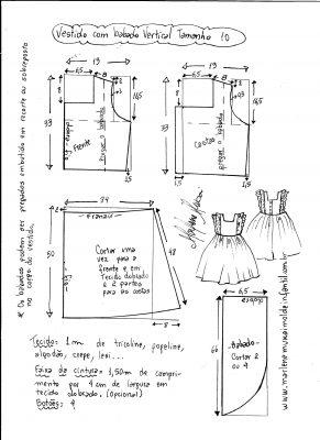 Esquema de modelagem de vestido com babado vertical tamanho 10.