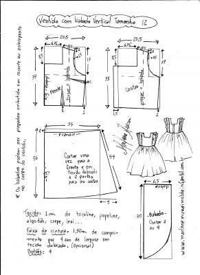 Esquema de modelagem de vestido com babado vertical tamanho 12.
