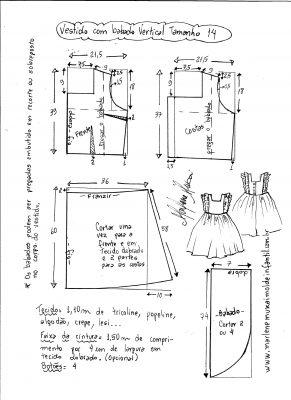 Esquema de modelagem de vestido com babado vertical tamanho 14.