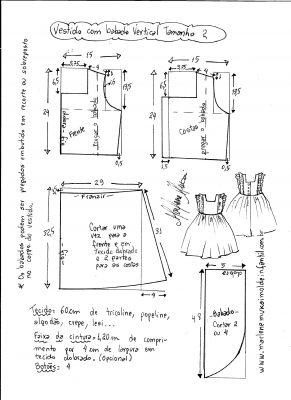 Esquema de modelagem de vestido com babado vertical tamanho 2.