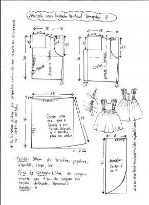 Esquema de modelagem de vestido com babado vertical tamanho 8.