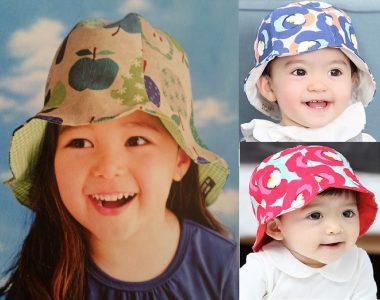 Chapéu Oriental de gomos com esquema de modelagem para crianças de 3 meses a 14 anos.
