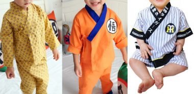 Conjunto kimono com esquema de modelagem para crianças de 6 meses a 14 anos.