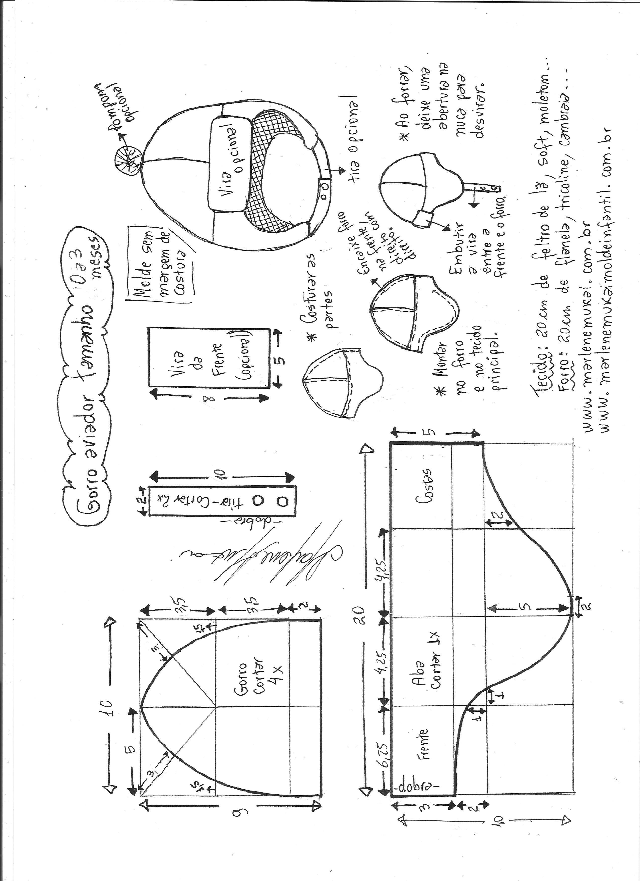 Esquema de modelagem de gorro aviador tamanho 0 a 3 meses. 94f925ecd3a