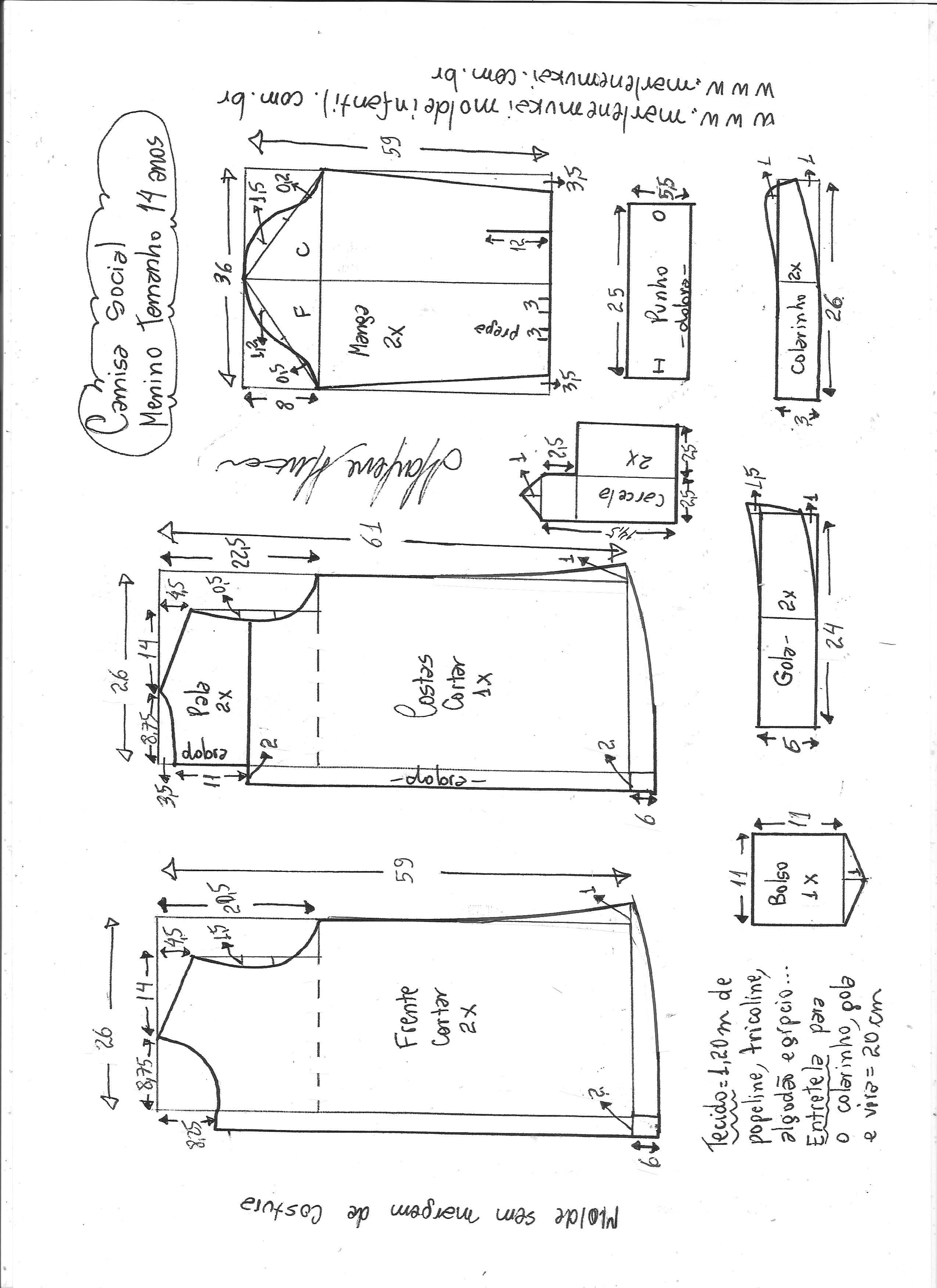 2cc58fb4e68c91 Camisa social para meninos - DIY- marlene mukai - molde infantil