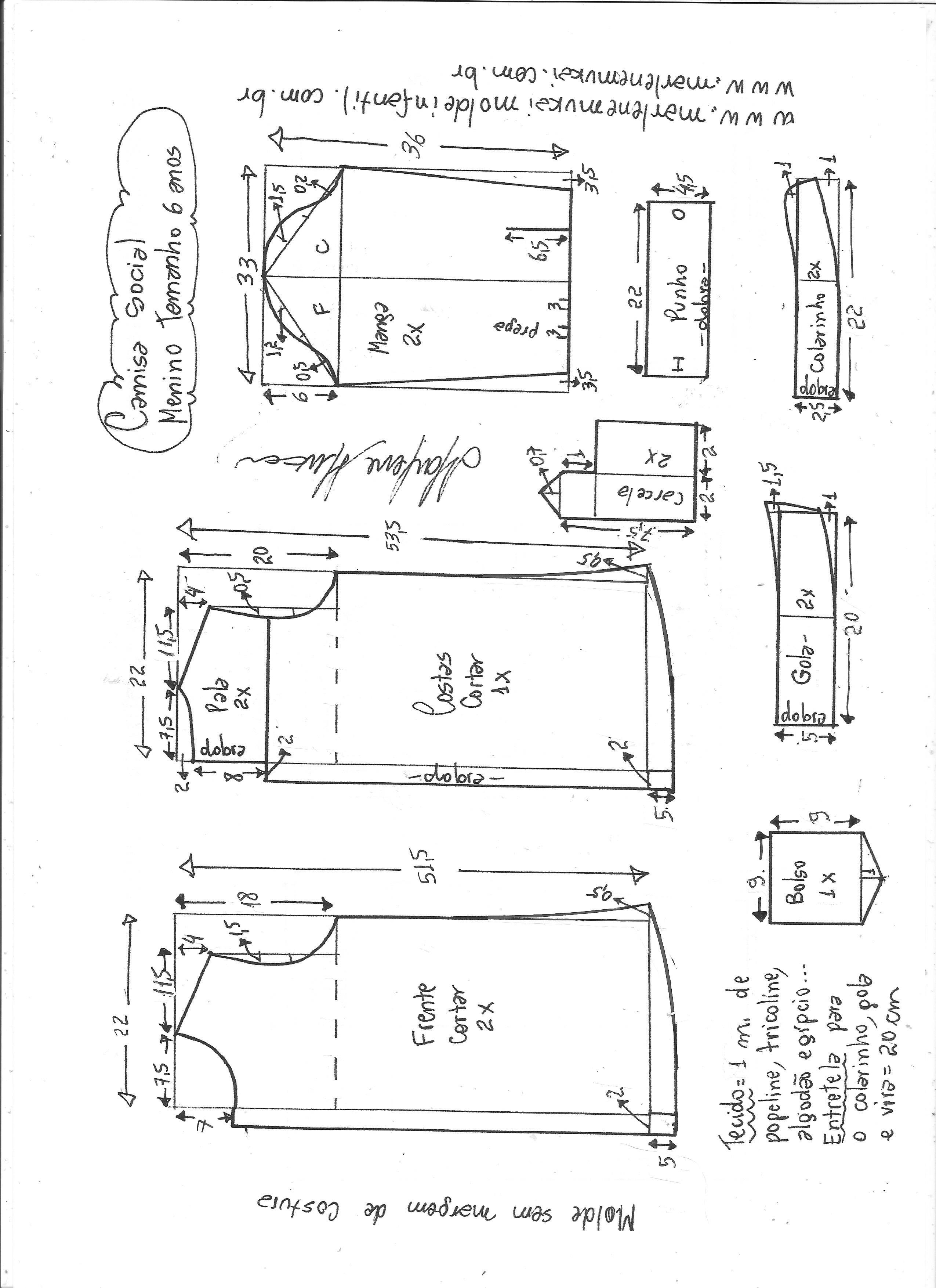 Esquema de modelagem de camisa social para meninos tamanho 6 anos. 4d7a98e4ed492