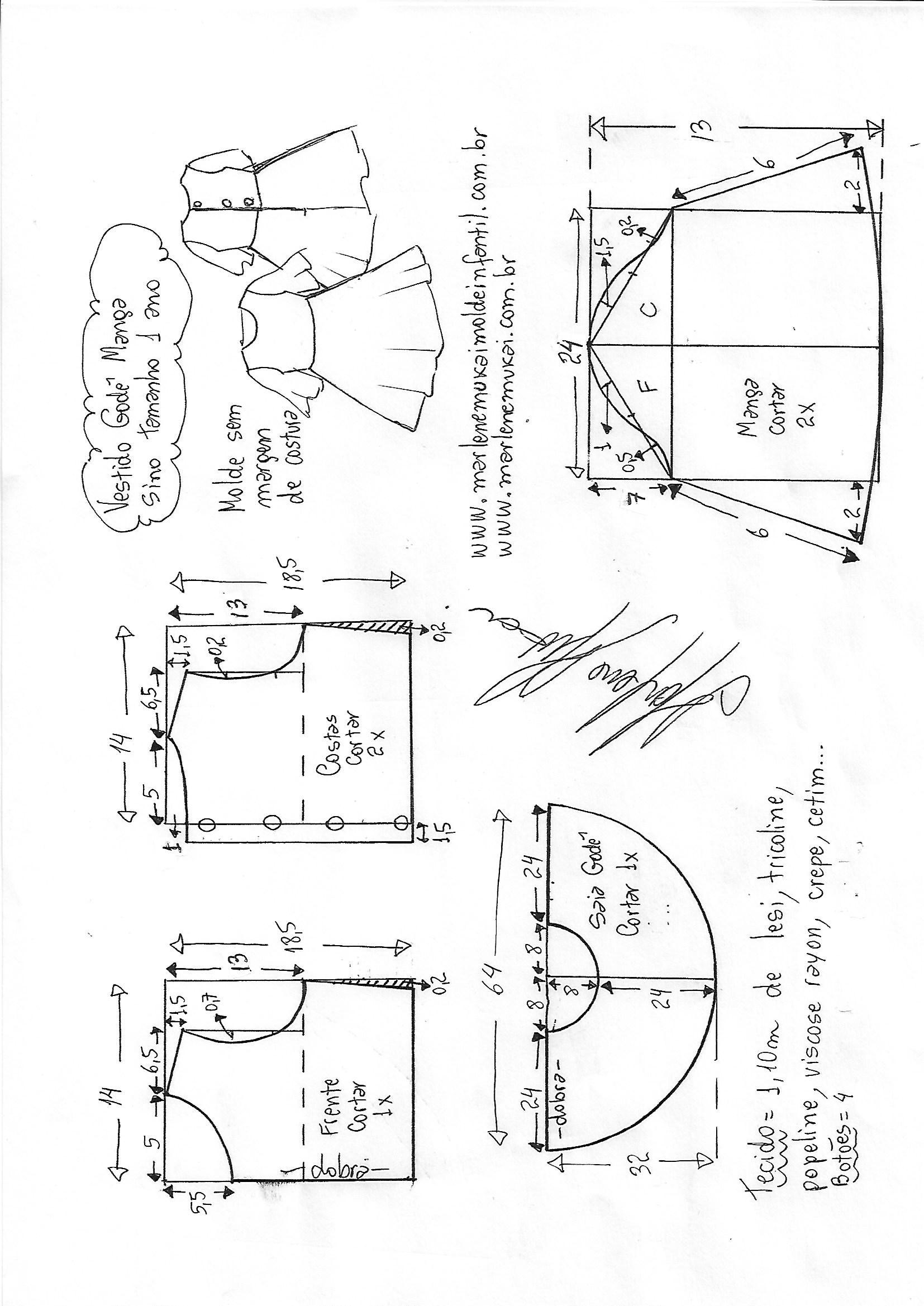 baf5e83af Esquema de modelagem de vestido godê manga sino tamanho 1 ano.