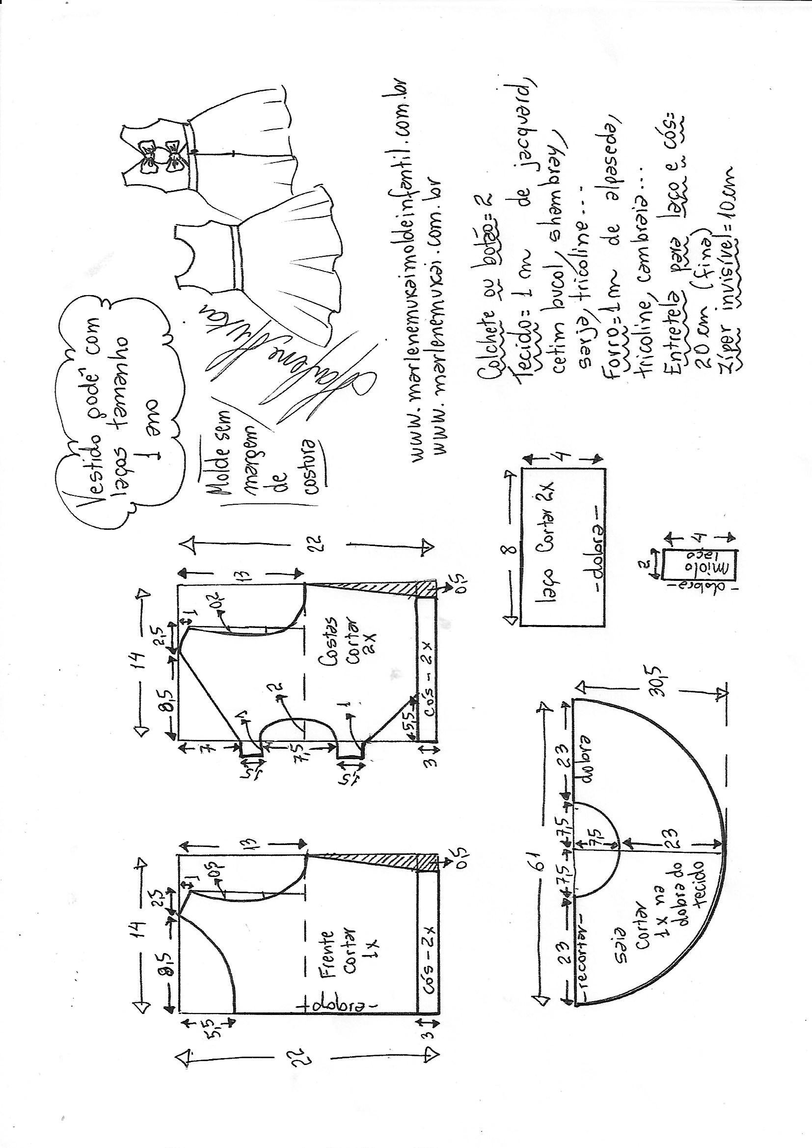 bd06008a7 Esquema de modelagem de vestido godê com laço no decote tamanho 1 ano.